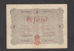 5 FORINT VERY FINE BANKNOTE FROM  HUNGARY/FINANCE MINISTRY  1848 PICK-S116