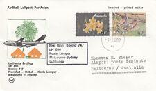(20816) CLEARANCE Malaysia Lufthansa Cover Frankfurt Dubai KL Melbourne Sydney