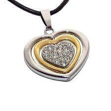 Edelstahl Herzkette Herz Anhänger Kette Halskette Strass silber gold Liebe Love