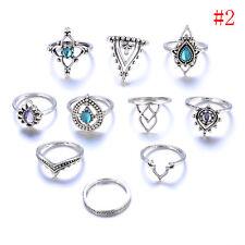 Bohemian Vintage Women Silver Elephant Turquoise Finger Rings Punk Ring Gift.PRO