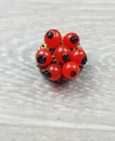 Vintage 1950s Czech Red berry style Glass beaded  fur clip