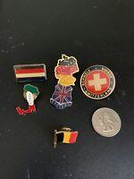 European Flag Enamel Pin Set Of 6 Italy Germany England Belgium Swiss Netherland