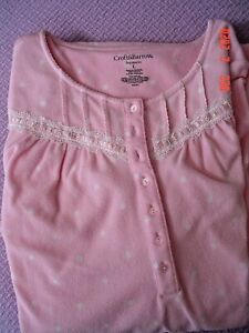 CROFT & BARROW INTIMATES WOMENS PINK LACED NIGHTGOWN PJ LARGE SO SO SOFT L@@K