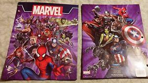 Lot of TWO Marvel Universe 2 Pocket Portfolio Folders, 3-Hole Punched for Binder