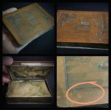 Ancien poudrier 19 ème - decors gravure cuivre d'après Luigi CROSIO (1835-1915)