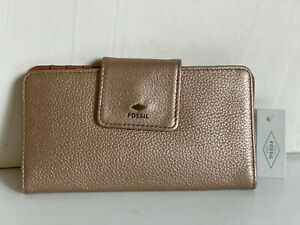 NEW ! FOSSIL GIFT TAB INDEXER PALE ROSE GOLD METALLIC CLUTCH LEATHER WALLET SALE