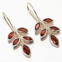 """Red Garnet Gemstone Handmade Ethinc 925 Sterling Silver Earring 1.46"""" E-153"""