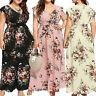 Women Floral Retro V Plunge Dres Ladies Maxi Wrap Holiday Summer Dress Plus Size