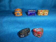 CLOISONNE Style Miniature BOXES LIDS Set of 10 Tiny FRENCH Mini Porcelain FEVES