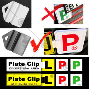 Black White Clip It On Plate Clips for Car NO Licence and p/l plate easy to use