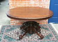 French Antique Carved Oak Louis XIII Renaissance Kitchen Oval Table
