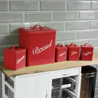 5 Piece Canister Set Red Bread Bin Sugar Coffee Tea Biscuits By Home Discount