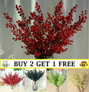 5 Branch Christmas Berry Stems Artificial Flower Xmas Pick for  Wreath Decor
