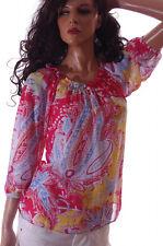 Womens Chaps Ralph Lauren Bright Yellow Paisley 3/4 Sleeve Sheer Top X-Small NEW