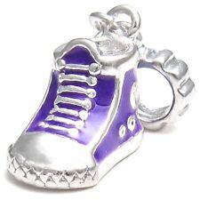 5 Pcs Purple Sneaker Boot Shoe Silver European Charms Beads For Bracelet L#544