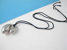 Tiffany & Co RARE Peretti Silver HUGE Free Form Necklace 32 Inch Black Silk Cord