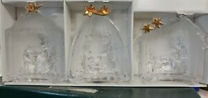 MIKASA Golden Stars Frosted Crystal Nativity Sculpture Germany 3 Pc  -