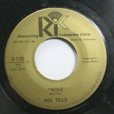 Country 45 Mel Tillis - Wine / Buried Alive On Recording Industries Corp.