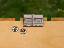 "HR-16 Alesis MMT-8 Midi Recorder 1 1/2"" Silver Tone Metal Lapel Pin Pinback"
