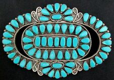 Vintage Old Pawn Silver and Turquoise Pin/Pendant HUGE Native American *TB386