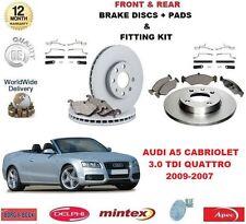 Para Audi A5 Cabrio 3.0 TDI 2009-2012 Delantero + Trasero Discos De Freno Almohadillas + Kit de montaje