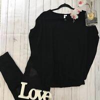 & Other Stories Size 40 UK 14 black elasticated waist viscose boxy batwing top