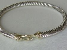 DAVID YURMAN 14K GOLD, SS MENS BUCKLE CABLE BRACELET.
