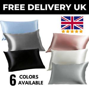 Satin Pillowcase Mulberry Silk Feel Pillow case Standard Cushion Covers Set UK