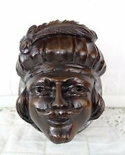 Antique French Hand Carved Walnut Wood Medallion Plaque Face Figure
