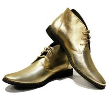 Modello Goldeno - Handmade Colorful Italian Leather Shoes Chukka Boots Gold