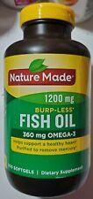 Nature Made 1200 mg Burpless Fish Oil Omega 3 - 200 softgels - Exp 06/2022