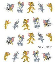 Nail Art Design unghie Acqua Transfer Sticker mouse & gatto Fumetto STZ-019