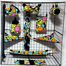 smiley faces * 15 PC Sugar Glider Cage set * Rat * double layer Fleece