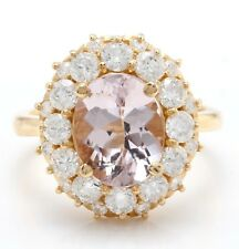 4.60 Carat Natural Morganite and Diamonds in 14K Solid Yellow Gold Women's Ring
