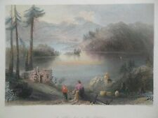 A Settler's Hut on the Frontier (1841) Antiquarian Hand Coloured Engraving, USA