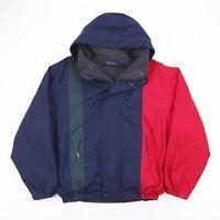 Vintage NAUTICA Hooded Outdoor Fleece Block Reversible Jacket Mens Size Medium