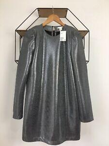H&M Silver Metallic Spacey Evening Futuristic Birkin Mini Dress Size 16 BNWT
