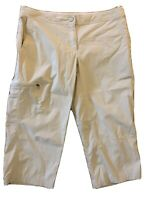 LL Bean Women's Outdoor Cargo Pants Crop Zip Pockets Mid Rise Khaki 8 Petite