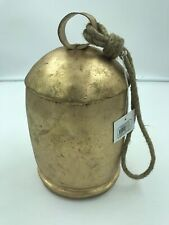 """Nautical Rustic Primitive Metal Gong Bell & Rope Decor Gold 6"""" x 11"""" Tall"""