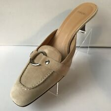 Coach Model Sheri Light Beige Suede Mules Womans Shoes S/8B Made in Italy LOGO
