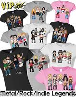 VIPwees Ladies T-Shirt Rock Metal Music Inspired Caricatures Choose Your Design