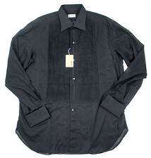 Men's BRIONI Black French Cuff Pique Bib Tuxedo Dress Shirt 16 41 L NWT $495!