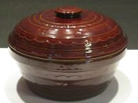 Vintage Brown Marcrest Daisy Dot Ovenproof Stoneware Casserole Dish with Lid