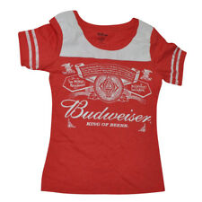 71c9463fa2e3 Budweiser King of Beers Crew Neck Womens Ladies Tshirt Tee Distressed Red  White Medium
