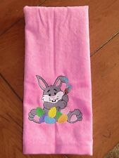 Embroidered Velour Hand Towel - Easter - Gray Bunny W/Eggs