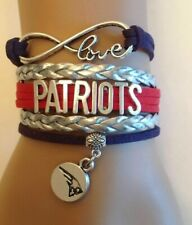 New England Patriots Infinity Bracelet Football Charm Quality Fast Ship USA