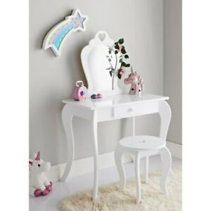 Amelia Wooden Vanity Set With Stool And Mirror Girls Dressing Table (( WHITE ))