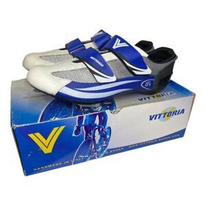 Vittoria Mens VTR01 Cycling Shoes Blue Silver White 2 Straps Size US 9.5 EU 42