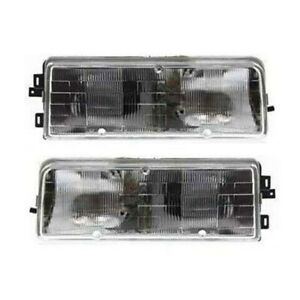 Halogen Head Lamp Assembly Set of 2 LH & RH Side Fits 1989-1996 Buick Century
