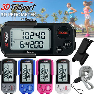3DTriSport Supreme Quality Walking 3D Pedometer with Clip and Strap